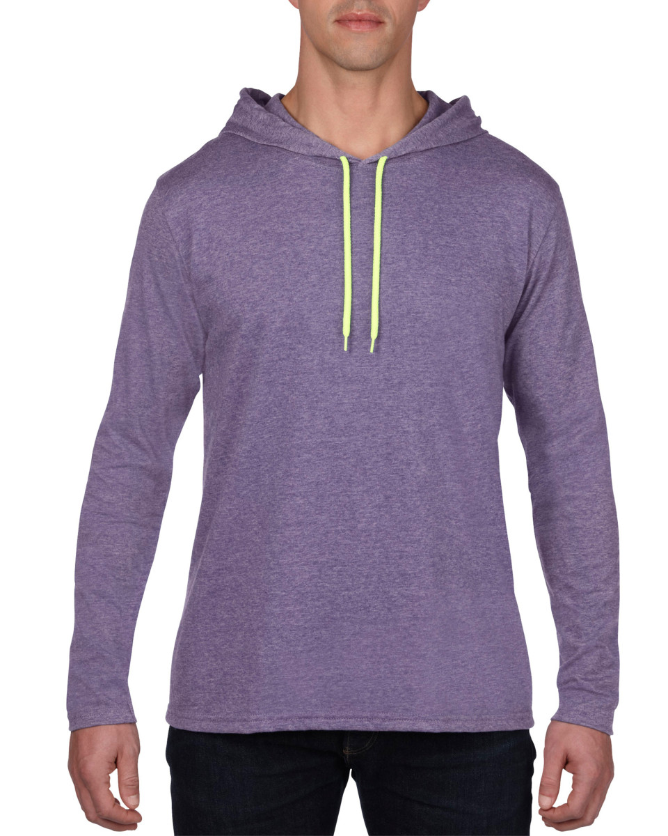 Anvil adult lightweight long sleeve hooded tee the t for Where are anvil shirts made