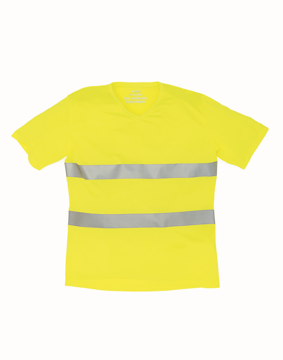Yoko Hi-Vis Top Cool Weave V-Neck T-Shirt