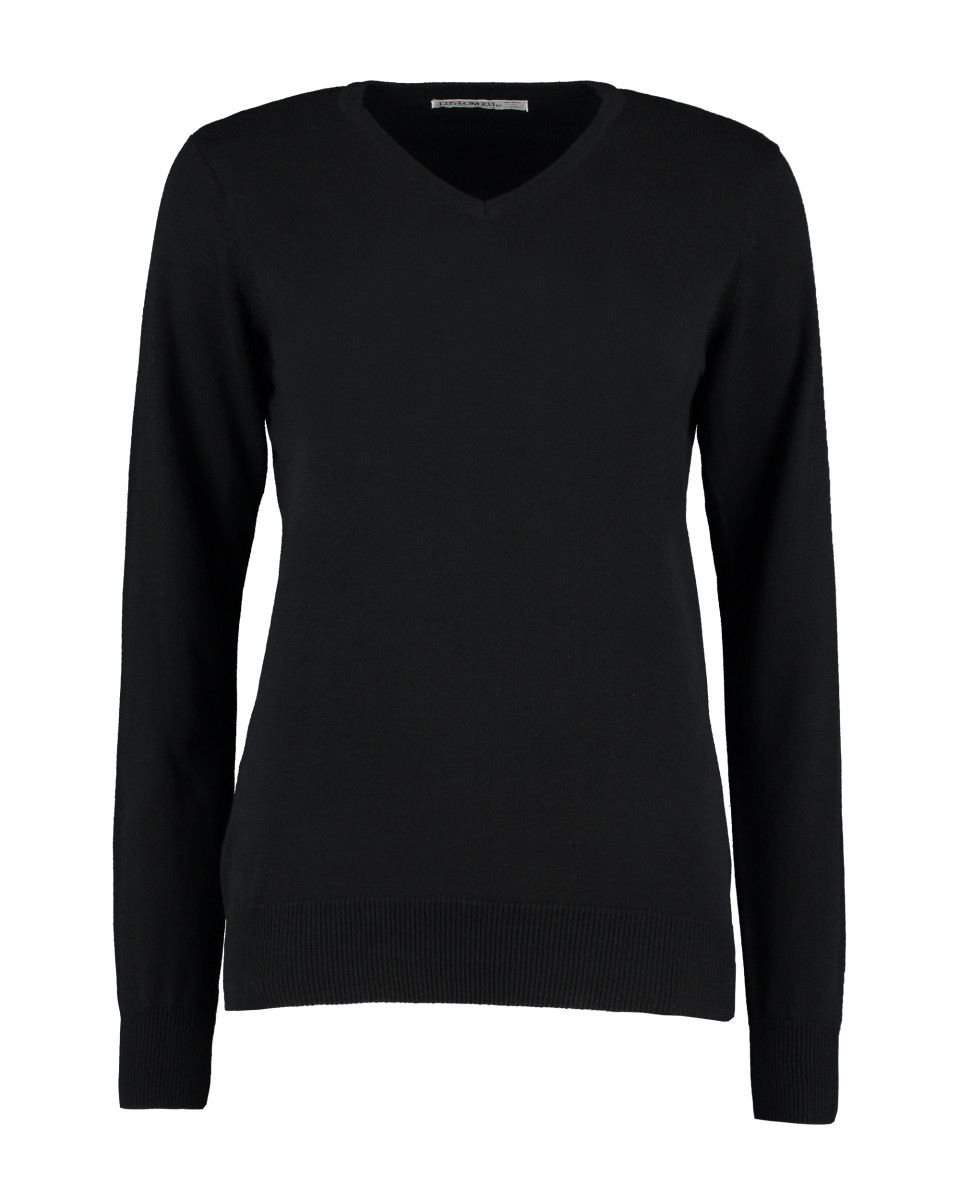 Kustom Kit Ladies' Arundel Long Sleeve V-Neck Sweater