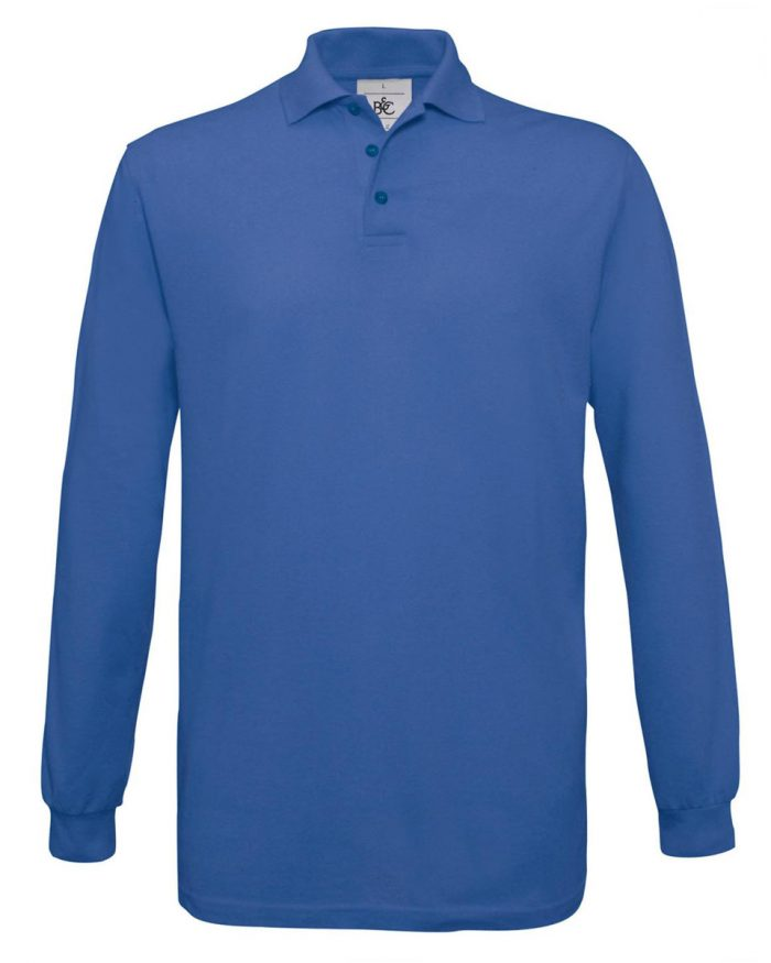 B and C Safran Long-sleeved Fine Piqué Polo Shirt