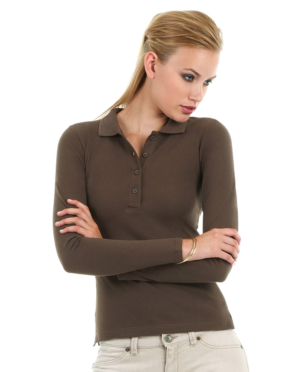 B and C Safran Pure Women's Long Sleeve Piqué Polo